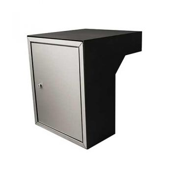 Post inbouwkast type Stoer! zwart (RAL9011)/RVS 35 tot 50 cm